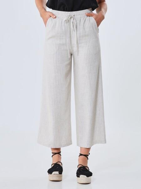 Pantalón culotte con mezcla de lino