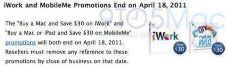 Apple suprime los descuentos de iWork y MobileMe al comprar un nuevo Mac