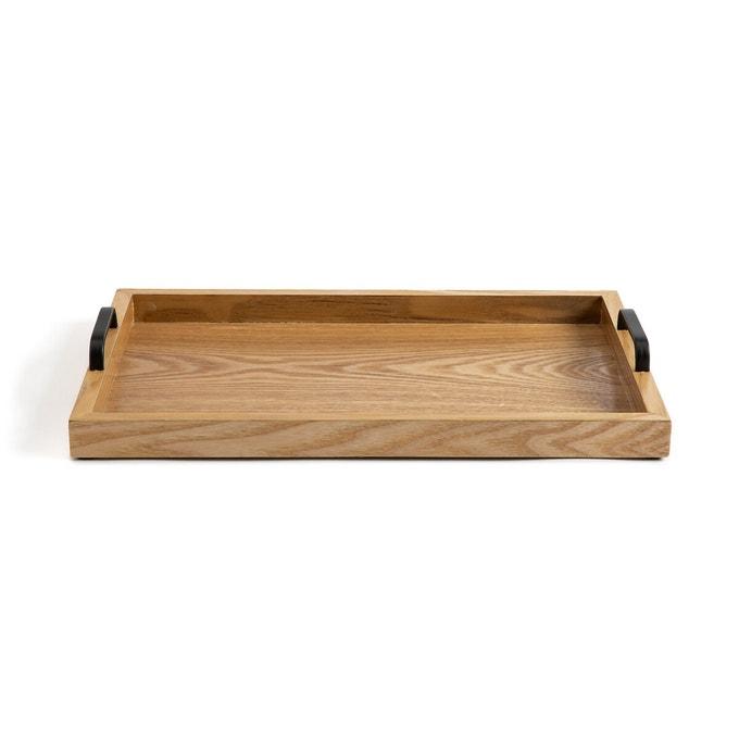 Bandeja de madera con asas de metal