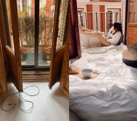 Antes y después: un mini balcón que pasa de macetero en el olvido a rincón acogedor para el relax
