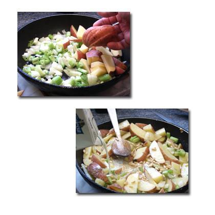 guarnicion patatas con piñones pasos
