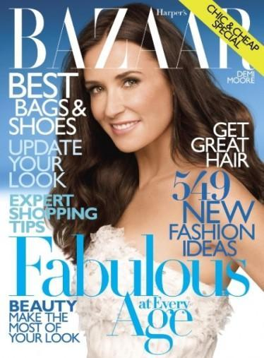 Demi Moore posando para Harper's Bazaar