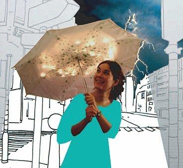 Paraguas que se ilumina con la lluvia