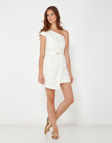 vestido blanco jacquard cortefiel
