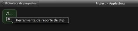 Seleccionando Herramientas de recorte de clip