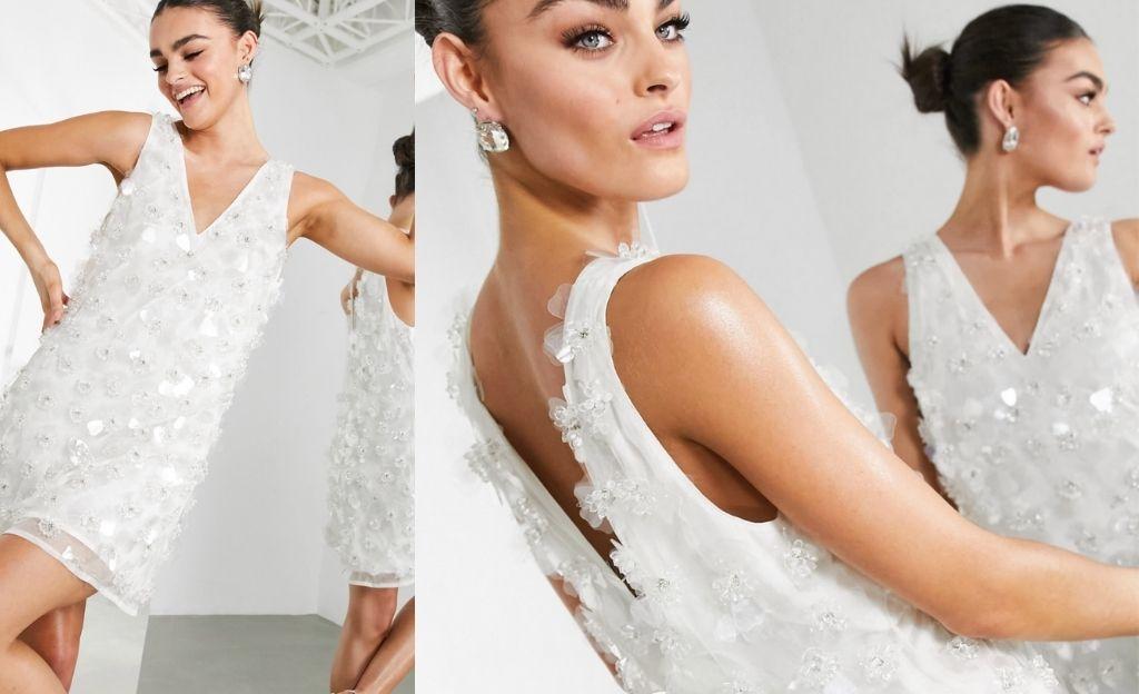 Vestido corto blanco recto con adornos florales 3D de ASOS Edition