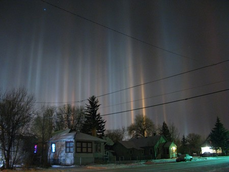 Light Pillars Over Laramie Wyoming In Winter Night Christoph Geisler
