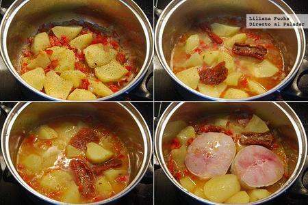 Congrio guisado con patatas y tomate seco. Pasos de la receta