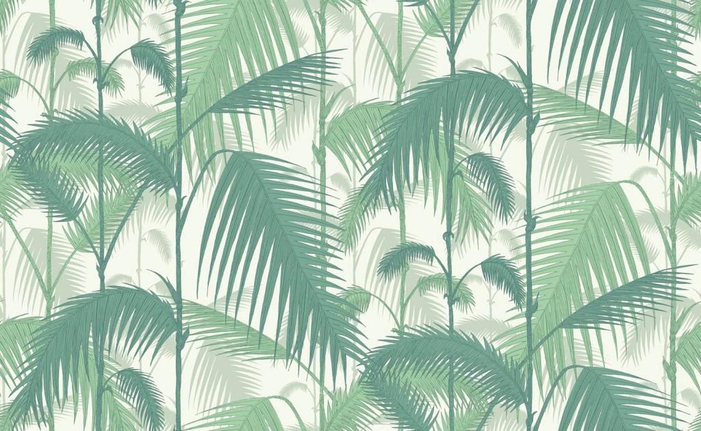 Papel pintado palmeras selva verde agua