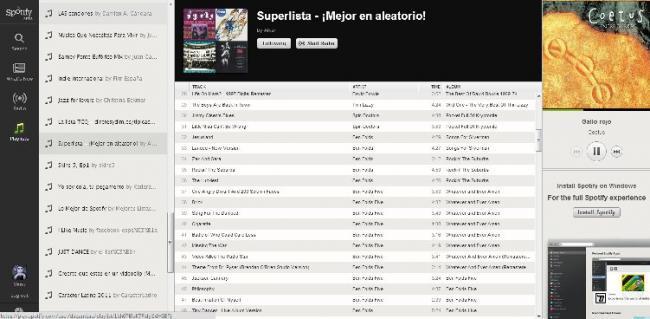 Listas de reproducción en Spotify Web