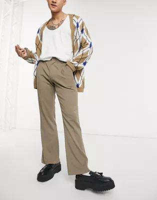 Pantalones de vestir color piedra acampanados de ASOS DESIGN
