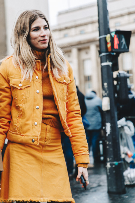 Pfw Paris Fashion Week Fall 2016 Street Style Collage Vintage Veronika Heilbrunner Orange