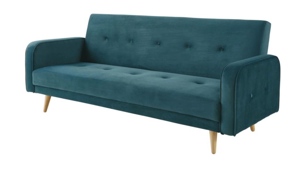 Sofá cama de 3 plazas de terciopelo azul petróleo.