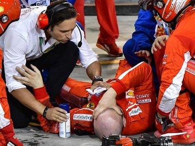 Ferrari es sancionada con 50.000 euros por el atropello de Raikkonen a su mecánico en Baréin