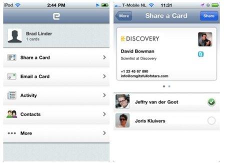 My name is E, para compartir tarjetas de visita con el iPhone