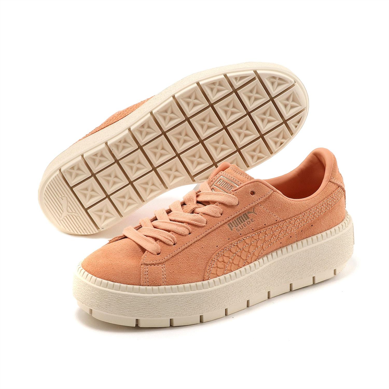 Sneakers de ante con plataforma coral