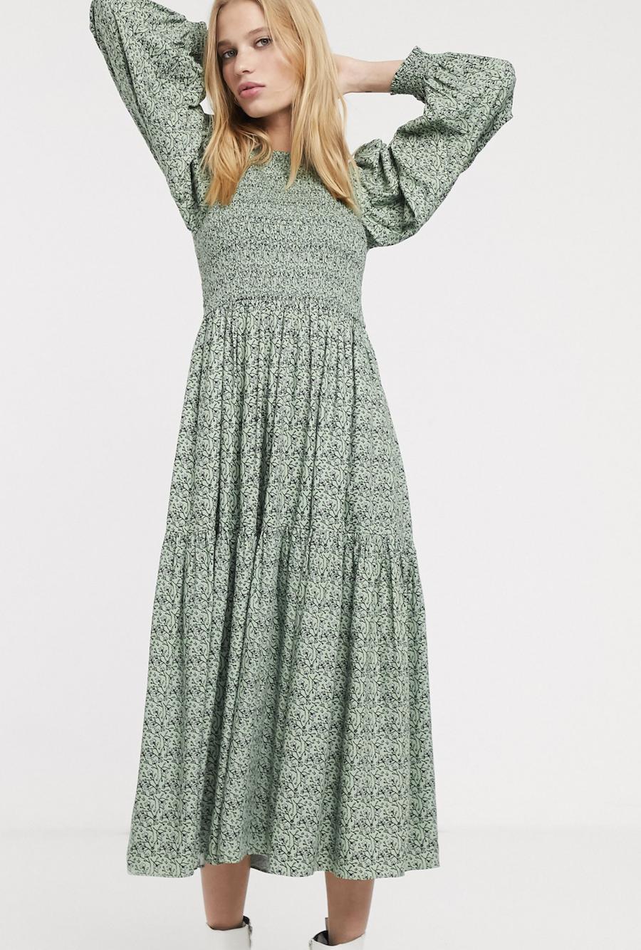 Vestido midi amplio de estilo Prairie con estampado de florecitas de & Other Stories