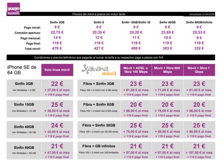 Precios Iphone Se 2020 De 64 Gb A Plazos Con Tarifas Yoigo