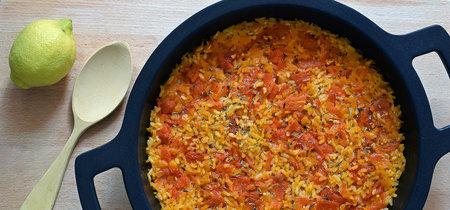 Arroz al horno con tomate. Receta saludable