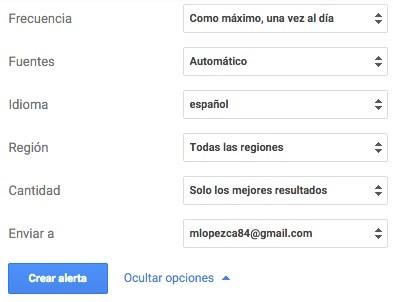 Google Alerts Configuración Alertas Noticias Opciones