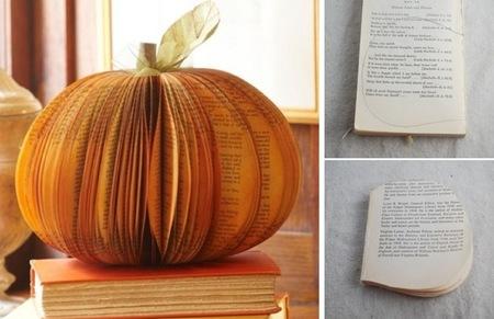 Hazlo tú mismo: una calabaza de Halloween hecha con un viejo libro