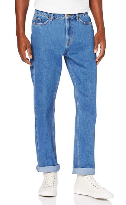 Pantalones vaqueros rectos con bajo elástico