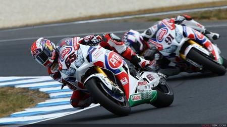 Los pilotos del equipo Pata Honda rodando en Phillip Island