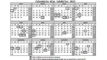 Disponible el calendario laboral de los días inhábiles de la administración para 2013