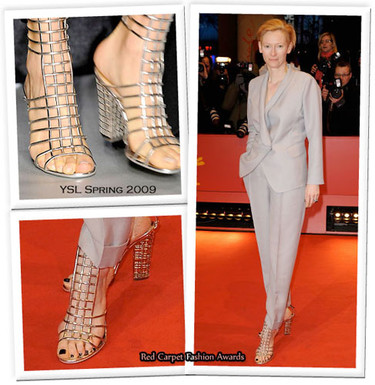 Tilda Swinton nos muestra como usar las sandalias jaula de Yves Saint Laurent