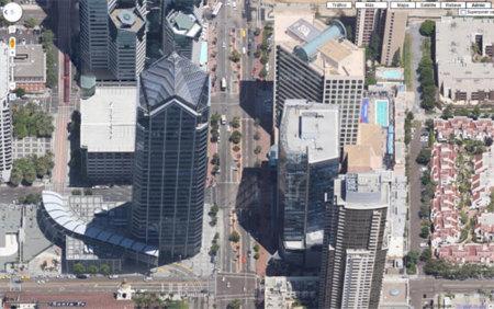 Vista aérea del skyline de San Diego en Google Maps