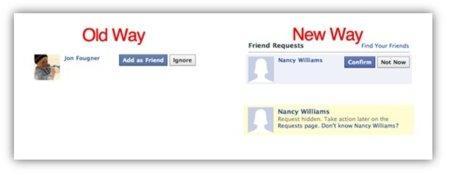 """Cambios en las solicitudes de amistad de Facebook: """"Ignorar"""" se convierte en """"Ahora no"""""""