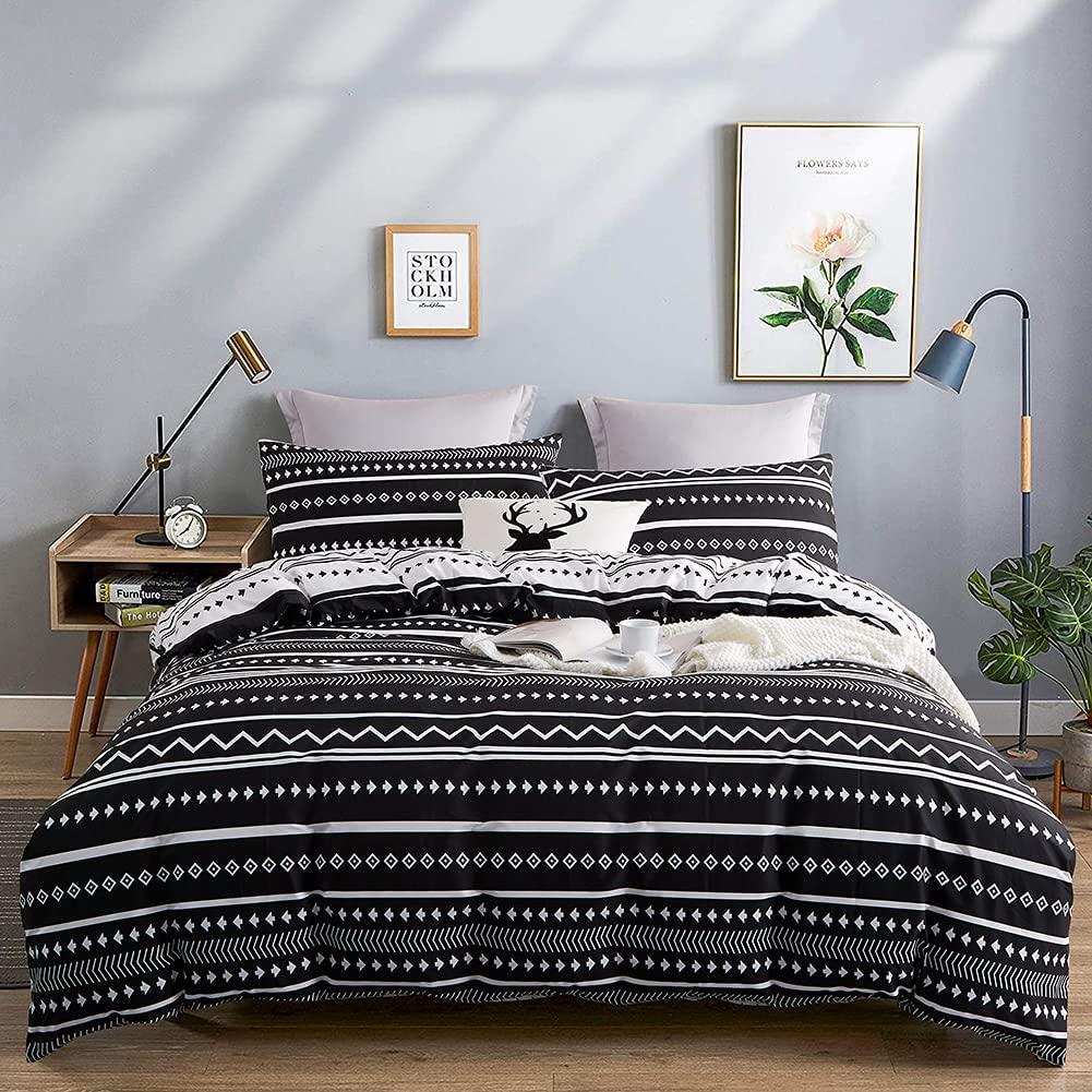 Michorinee - Juego de ropa de cama (140 x 200 cm, microfibra, diseño de rayas, reversible, 140 x 200 + 70 x 90 cm), color blanco y negro