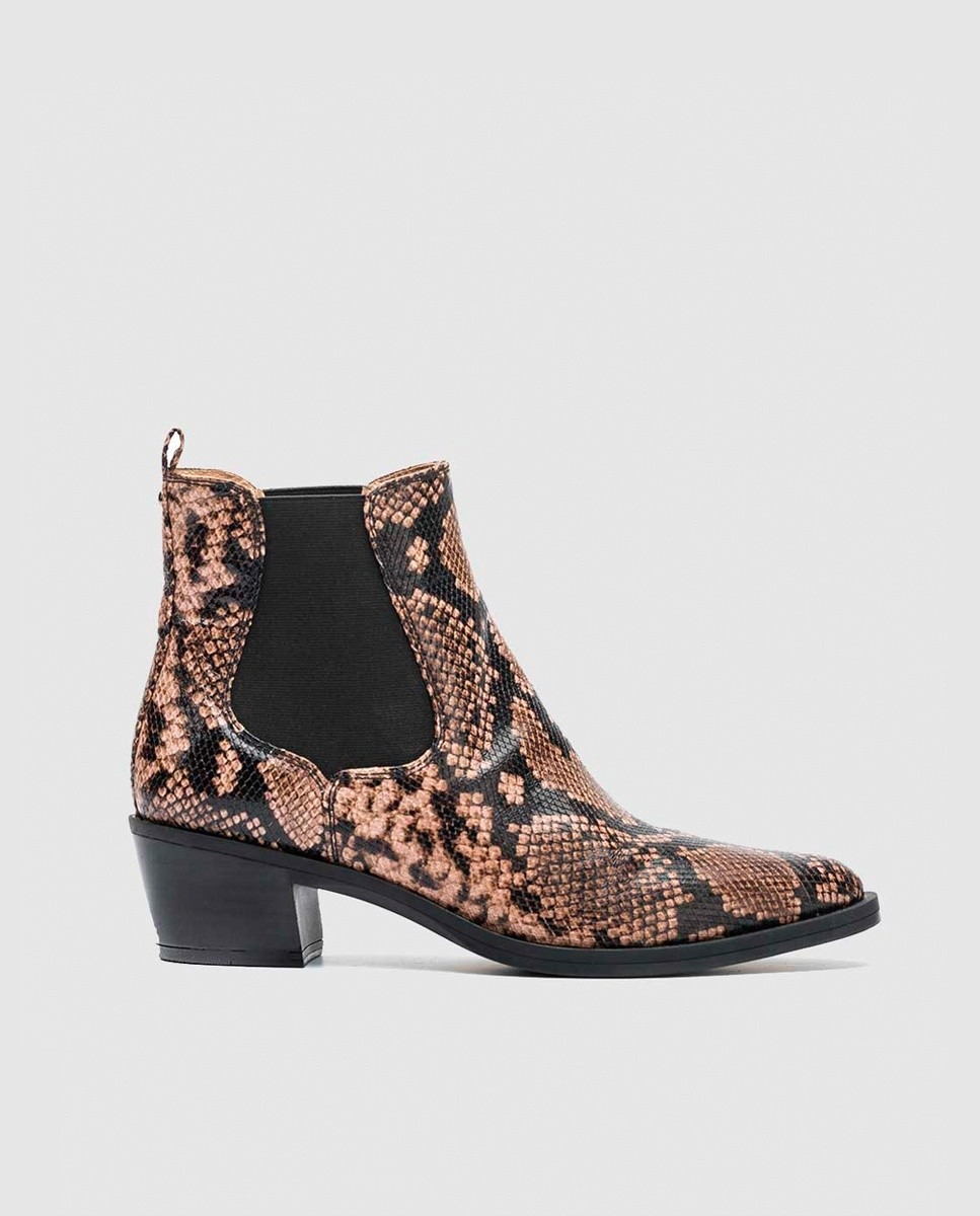 Botines de mujer Unisa de piel con estampado de serpiente