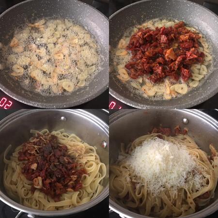 paso a paso pasta con salsa de mantequilla, ajo y tomates secos