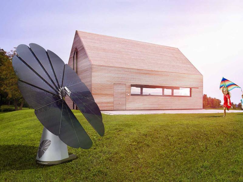 Este girasol fotovoltaico ofrece generar energía limpia además de un atractivo diseño