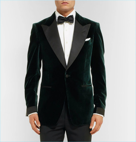 Tom Ford Icon Dark Green Shelton Slim Fit Grosgrain Trimmed Velvet Tuxedo Jacket
