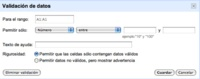Google Spreadsheet añade validación de datos en sus celdas