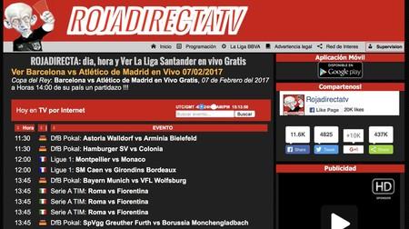 Rojadirecta era una de las webs de fútbol pirata más conocidas