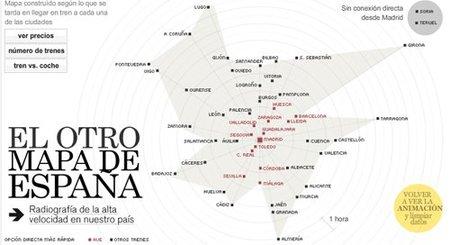 Mapa interactivo de trayectos en tren dentro de España