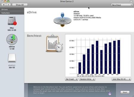 BenchTest, compara el rendimiento de HDs en Drive Genius 2