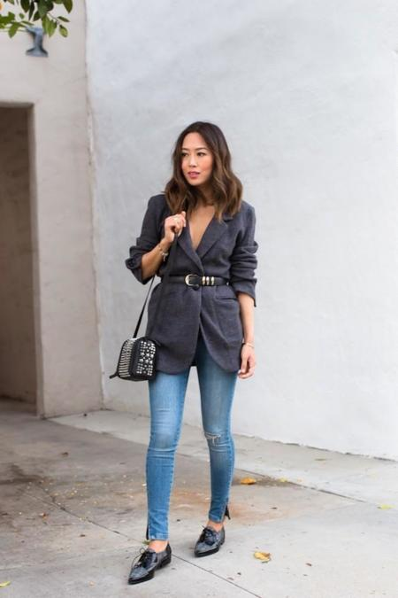 Aimee Song Belted Grey Blazer Skinny Jeans