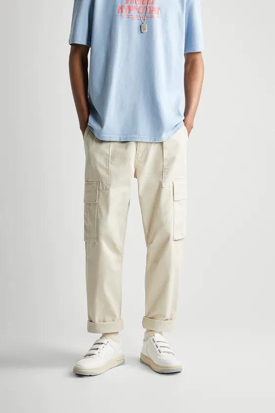 Pantalón cropped tipo cargo
