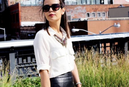 High Line New York Outfit Leather Skirt Street Style Oxfords 11