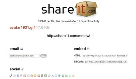 Share1t, comparte archivos por Internet de hasta 100 MB