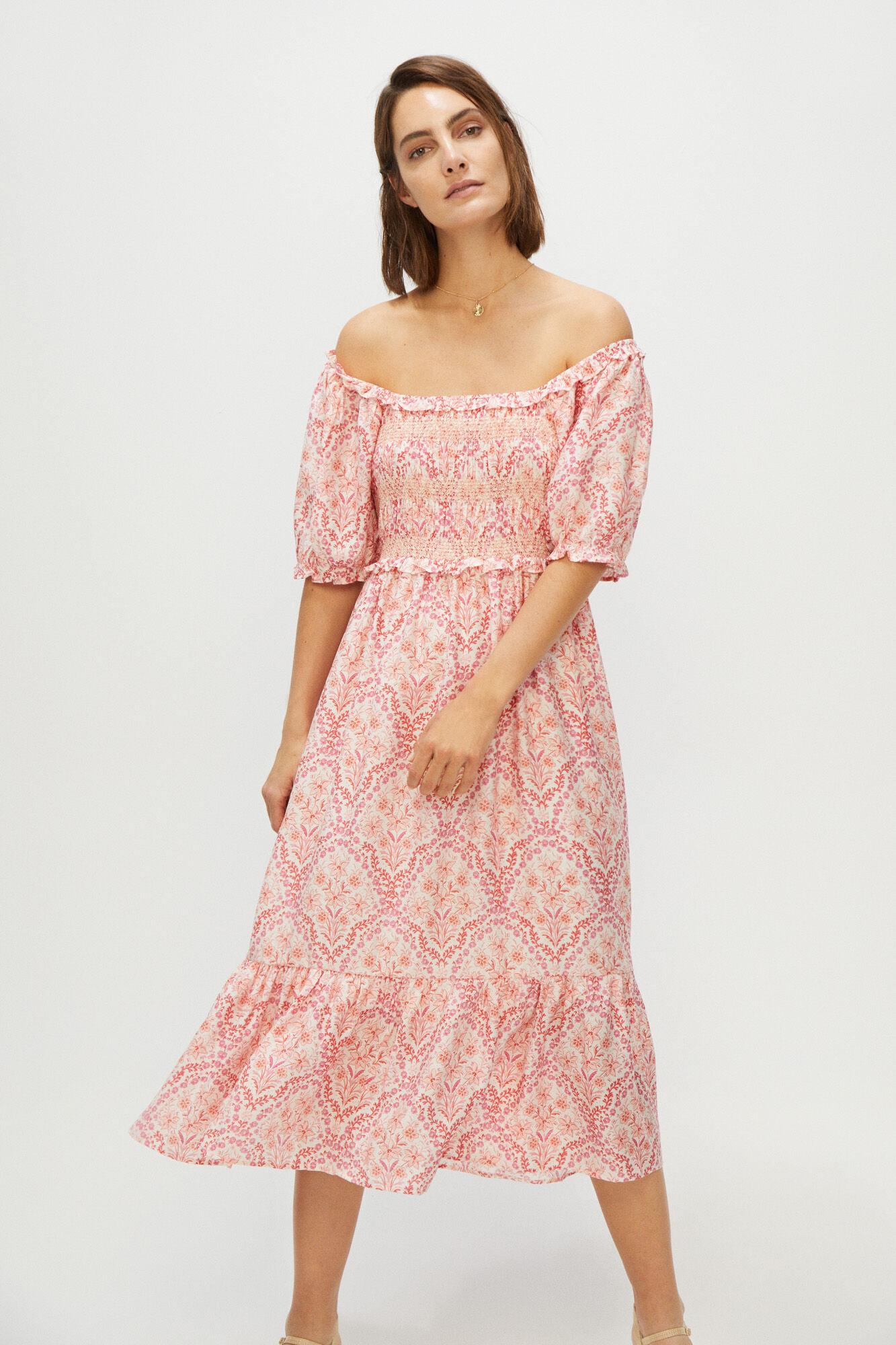 Vestido manga corta de estampado de flores