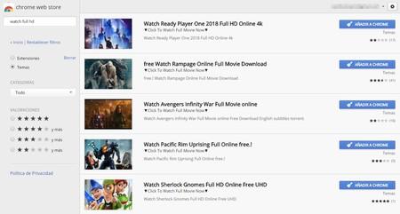 No, la Chrome Web Store no ofrece ver películas online gratis: es una estafa
