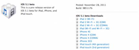 Apple ultima el lanzamiento de iOS 5.1 con la publicación de su versión beta para desarrolladores
