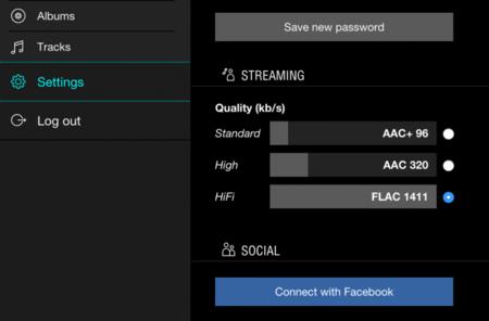 Tidal escoger calidad audio