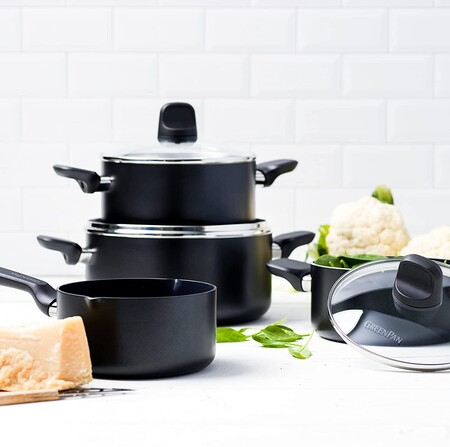 Greenpan Bateria De Cocina Antiadherente De Aluminio Con Revestimiento De Ceramica Apta Para Todo Tipo De Cocinas Induccion Horno Y Lavavajillas 4 Piezas Negro