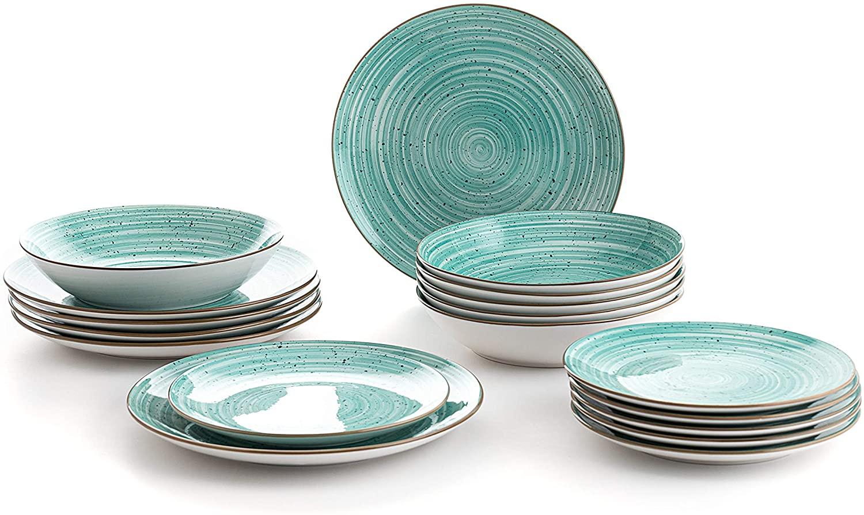 Quid Montreal Vajilla completa moderna de porcelana para 6 personas (18 piezas)|Platos llanos, Platos hondos, Platos postre